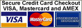 Secure Credit Card Checkout available for Visa Mastercard and American Express